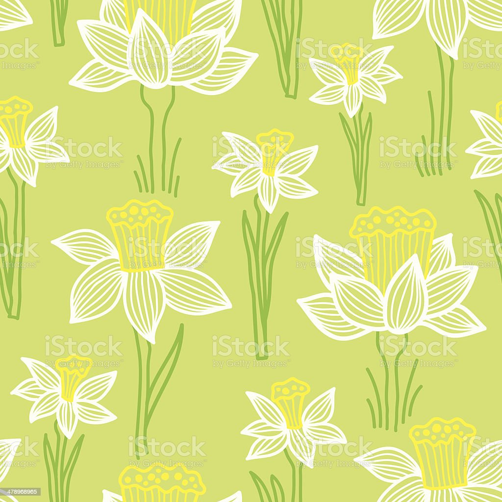 Seamless pattern with narcissus vector art illustration