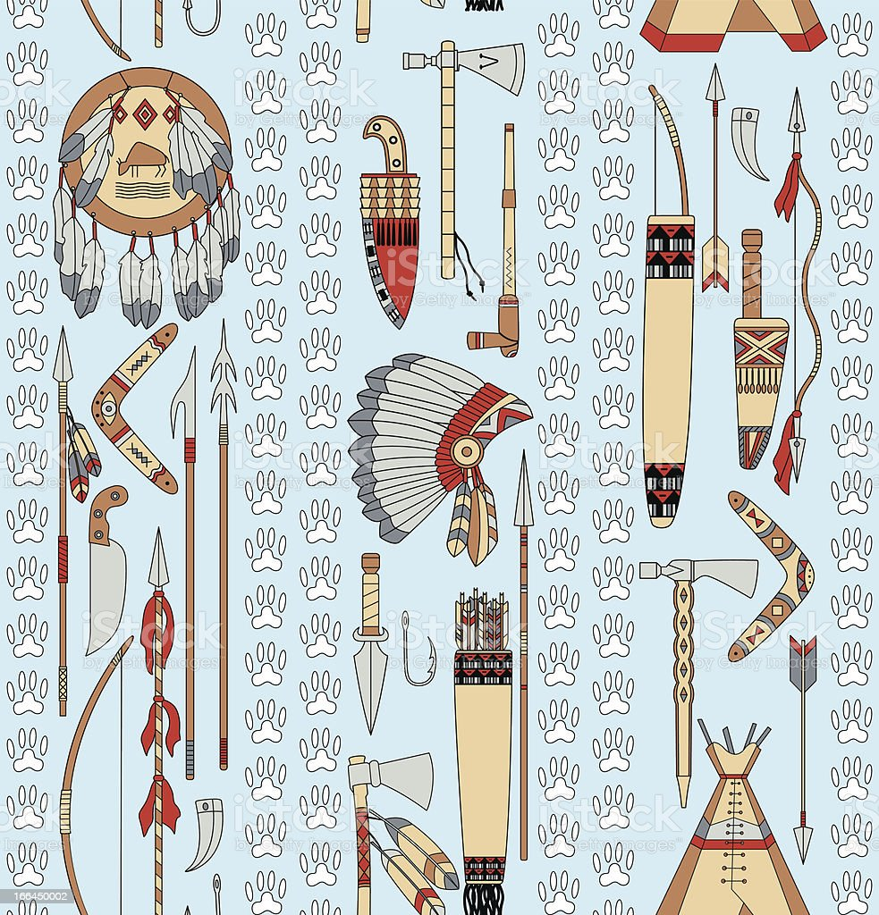 seamless pattern with Native American attributes and animal tracks royalty-free stock vector art