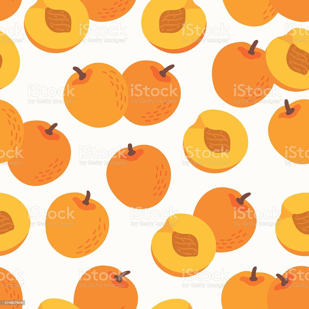 Seamless pattern with nectarines vector art illustration