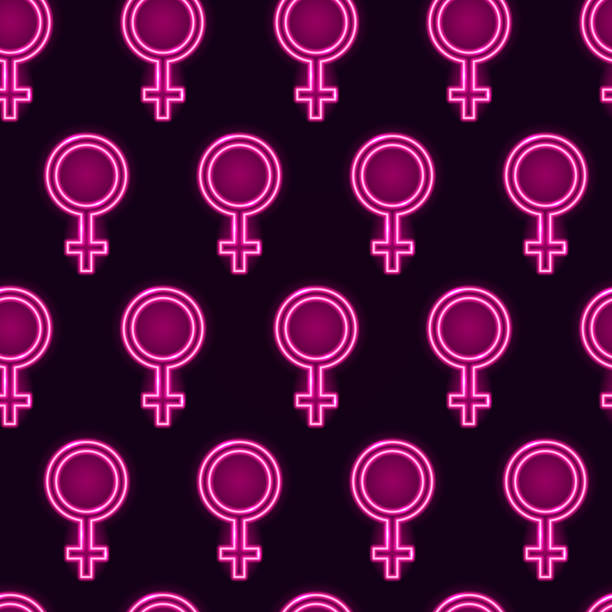 seamless pattern with neon glowing venus mirrors on dark purple background. feminist or girly concept. vector 10 eps illustration. - venus stock illustrations