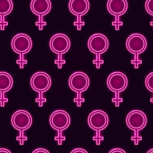illustrations, cliparts, dessins animés et icônes de modèle sans soudure avec des miroirs de vénus lumineux fluo sur fond violet foncé. concept féministe ou girly. illustration de vecteur 10 eps. - venus