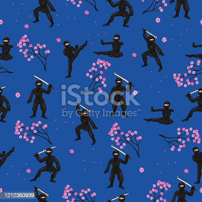 istock Seamless pattern with ninja in a black suit and sakura. Vector graphics. 1212360939
