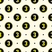 seamless pattern with number 3 icon vector.