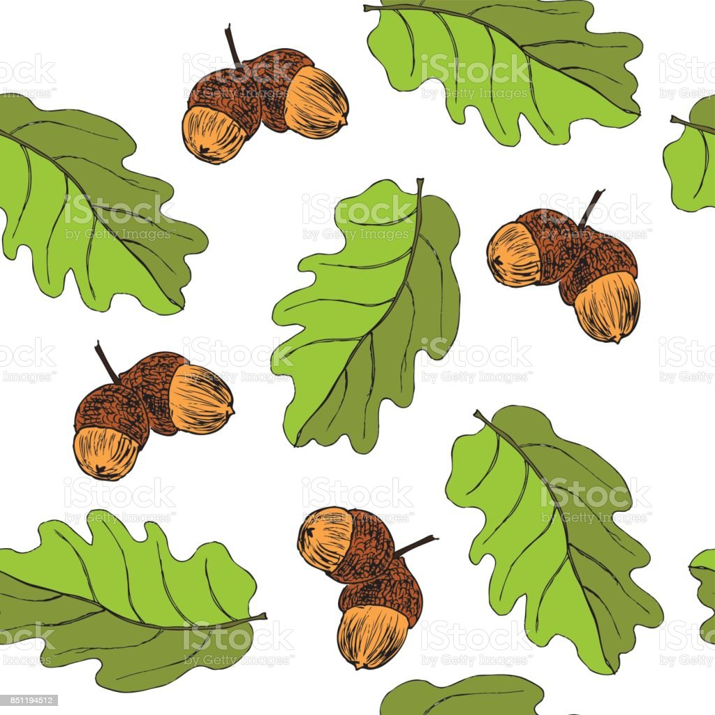 Seamless Pattern With Oak Autumn Leaves And Acorns Perfect For ...
