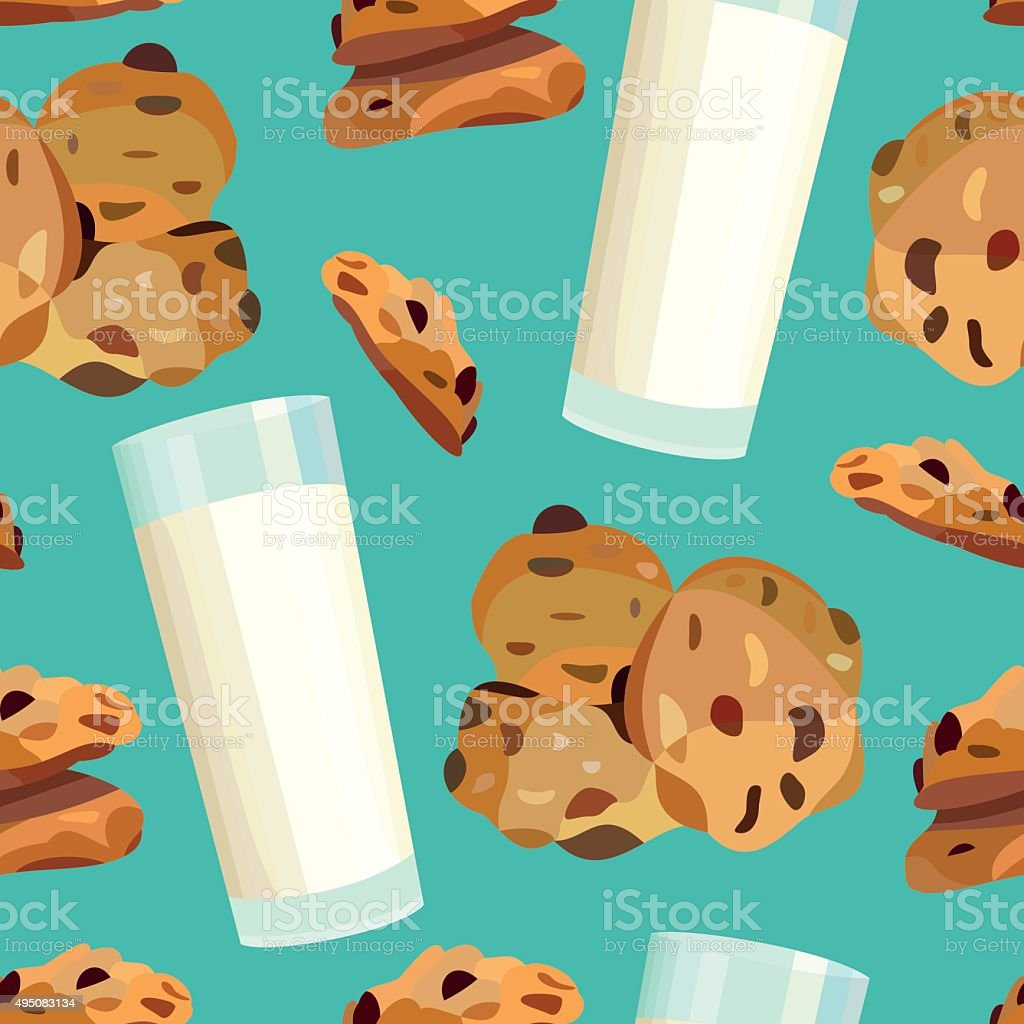 Seamless pattern with oatmeal cookies amd milk