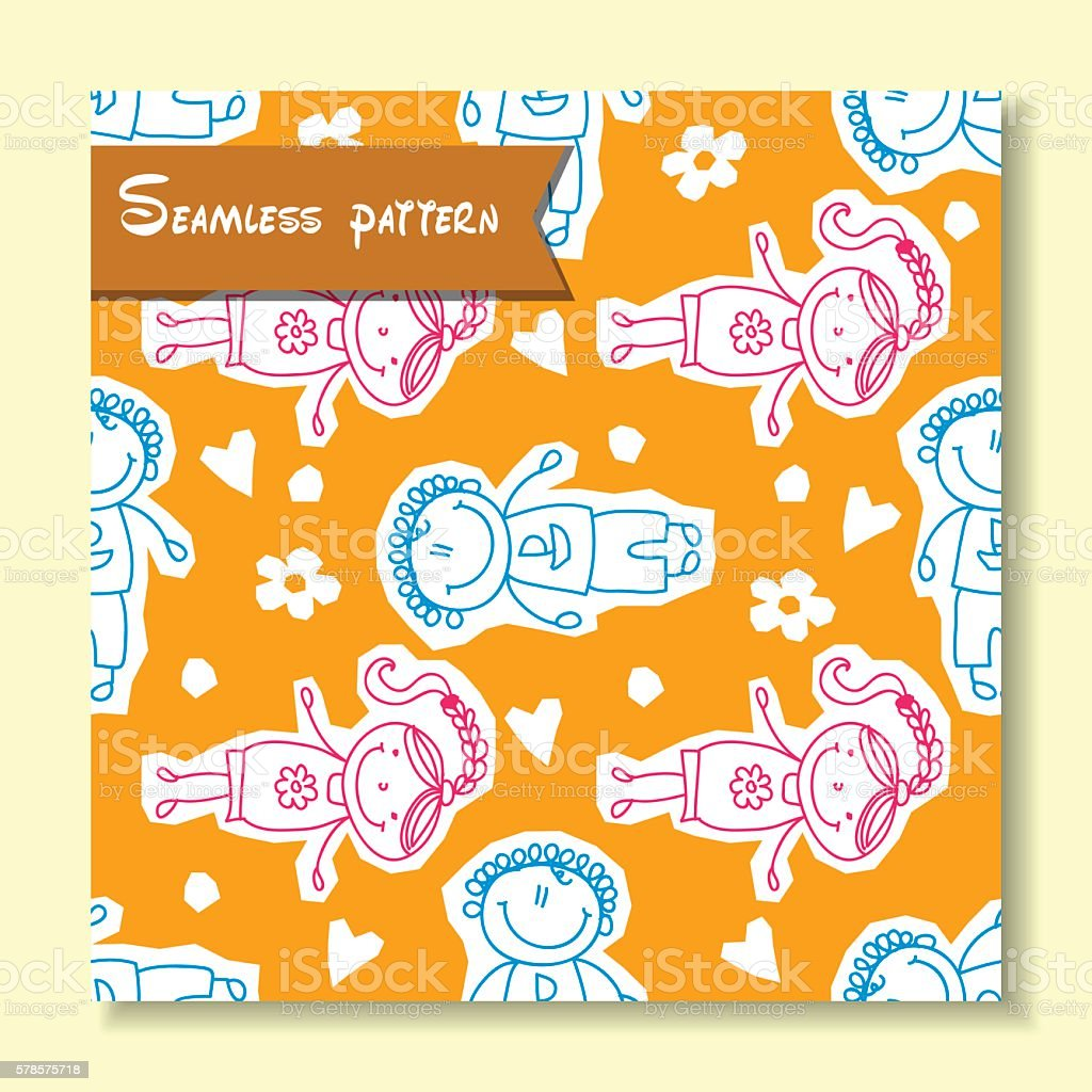 seamless pattern with of children royalty-free seamless pattern with of children stock vector art & more images of activity