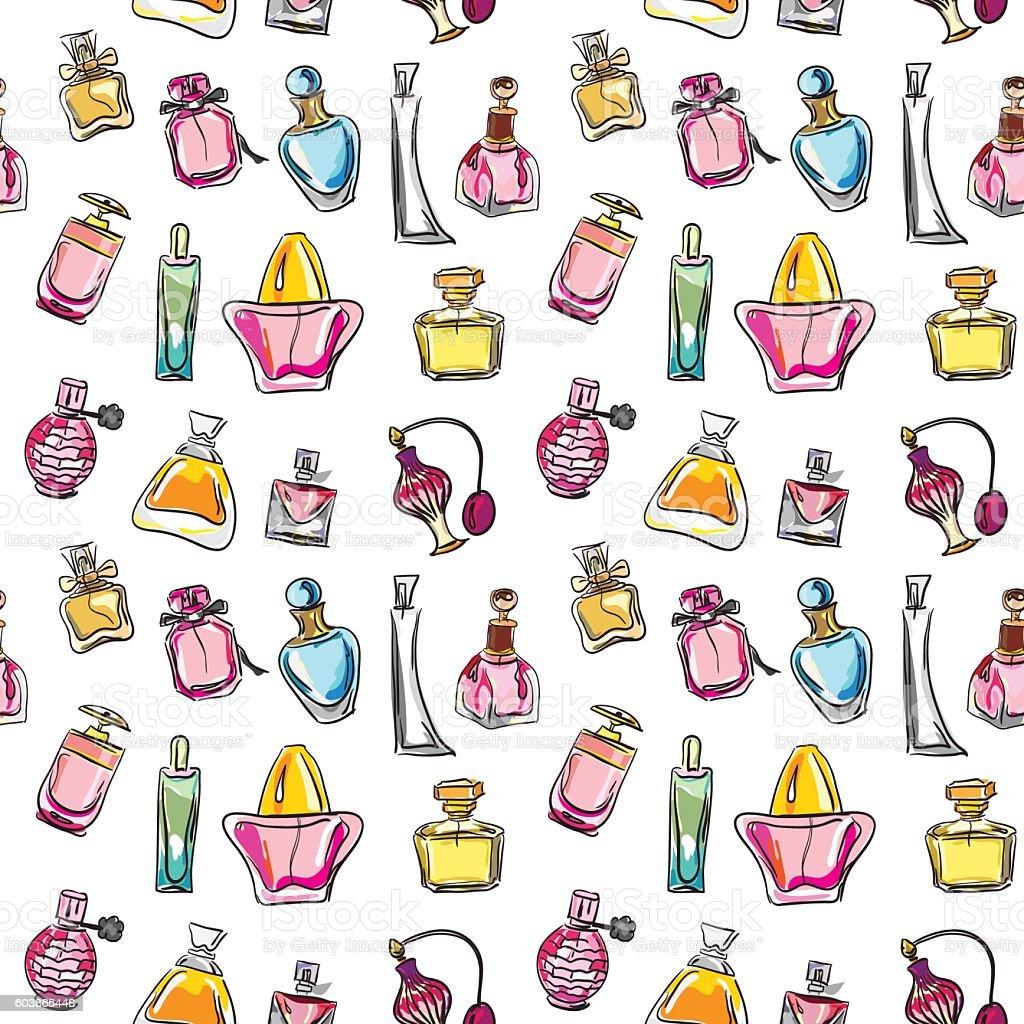 Seamless pattern with of different type of perfume bottles - ilustração de arte em vetor