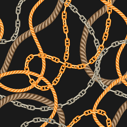 Seamless pattern with old chains and ropes.
