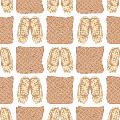Seamless vector pattern with Old Russian bast shoes and birch-bark baskets on white background. Can be used for graphic design, textile design or web design.