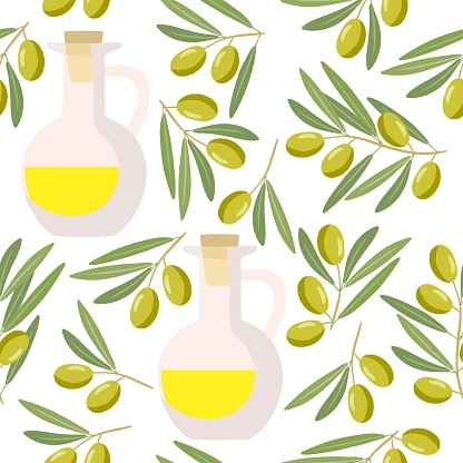 Seamless pattern with olives Branch and oil bottle. Berry, green leaves with yellow liquid vessel. Flat design for natural organic cosmetic, soap, oil. For wallpaper, textile, wrapping, scrapbooking.