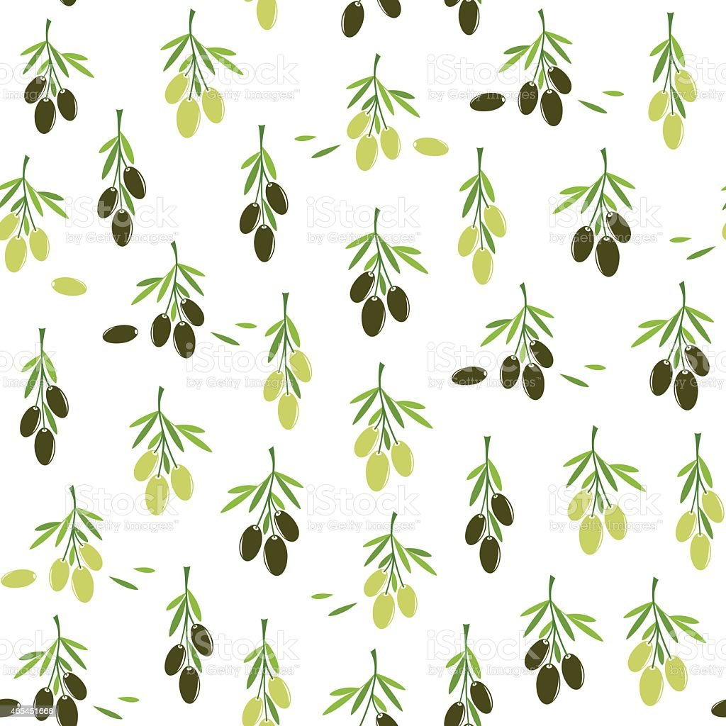 Seamless pattern with Olives vector art illustration