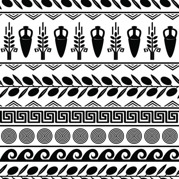 Seamless pattern with olives, wheat, amphora, and greek symbols. Seamless pattern with olives, wheat, amphora, and greek symbols. White and black vector background ancient greece stock illustrations