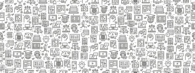 Seamless Pattern with Online Education Icons