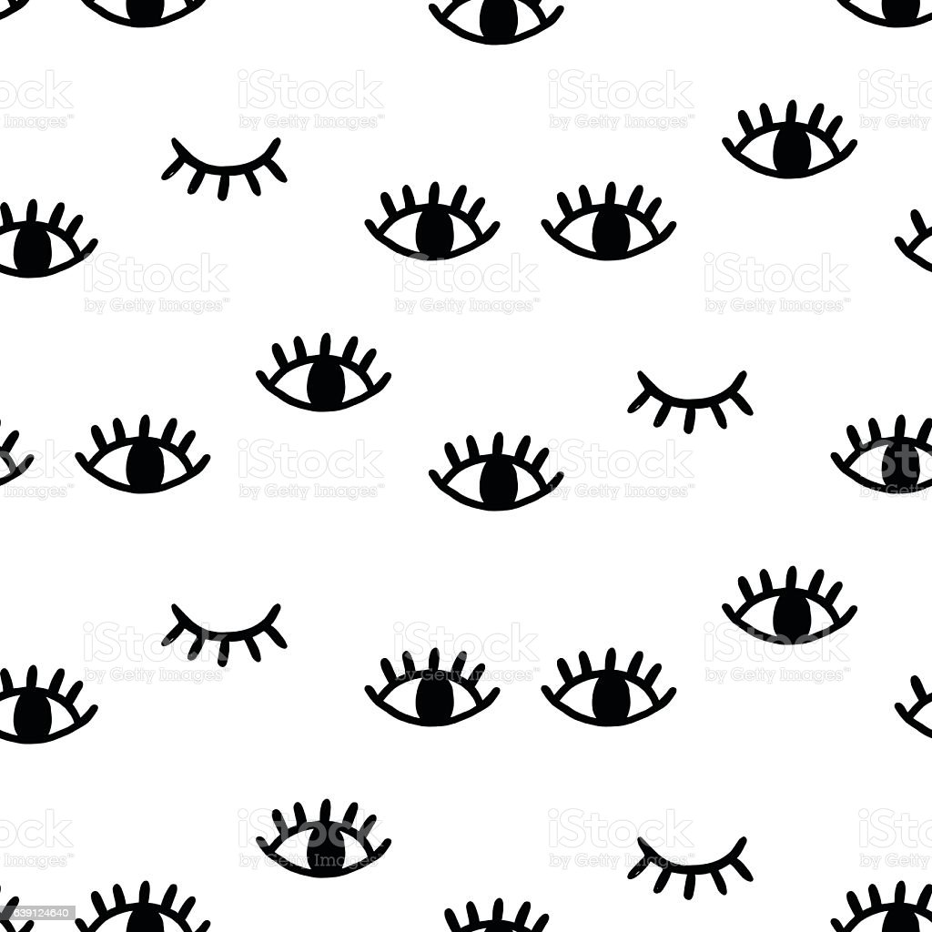 Seamless pattern with open and winking eyes - Векторная графика Абстрактный роялти-фри