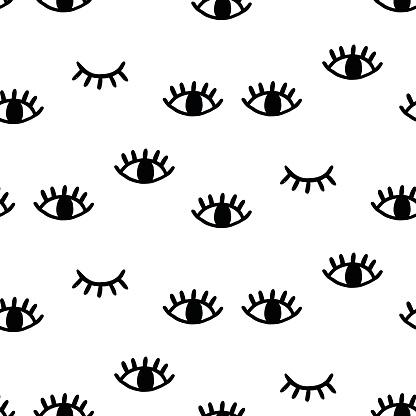 Seamless Pattern With Open And Winking Eyes — стоковая векторная графика и другие изображения на тему Абстрактный