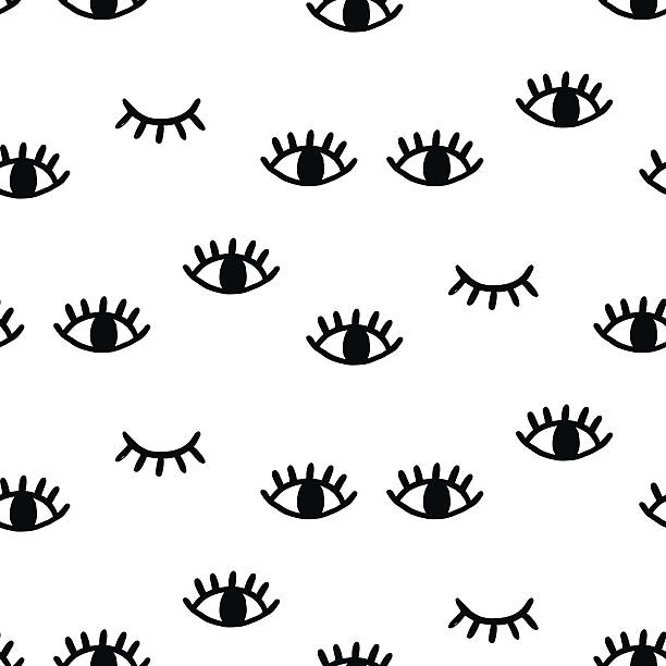 seamless pattern with open and winking eyes - глаз stock illustrations