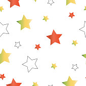 seamless pattern with orange and yellow stars vector - white background