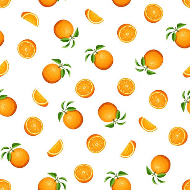 bildbanksillustrationer, clip art samt tecknat material och ikoner med seamless mönster med orange frukt. vektorillustration. - apelsin