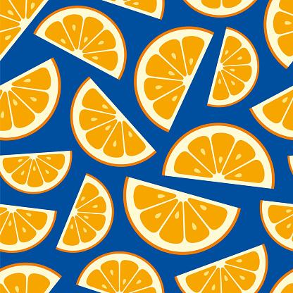 Seamless pattern with orange slice. Summer background.