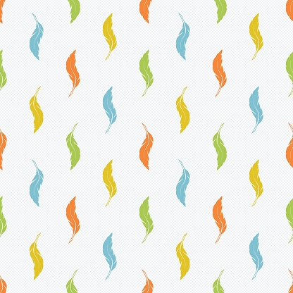 Seamless pattern with orange, yellow, green, blue feathers on a light gray background.