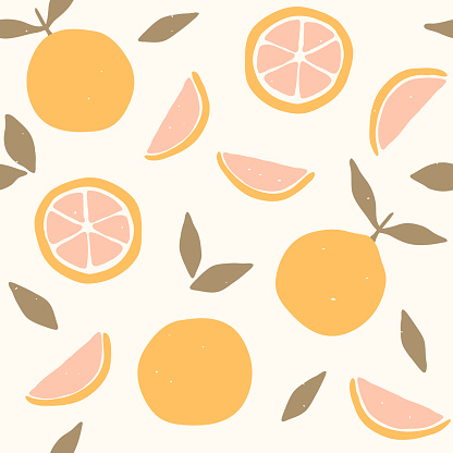 Seamless pattern with oranges and tangerines. Citrus fruits modern texture on white background. Abstract vector graphic illustration