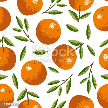 istock Seamless pattern with oranges. Repeated background. Vector print for fabric or wallpaper. 1225737113