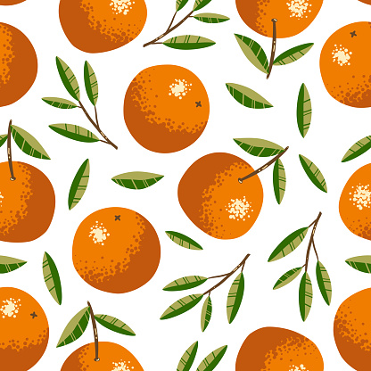 Seamless pattern with oranges. Repeated background. Vector print for fabric or wallpaper.