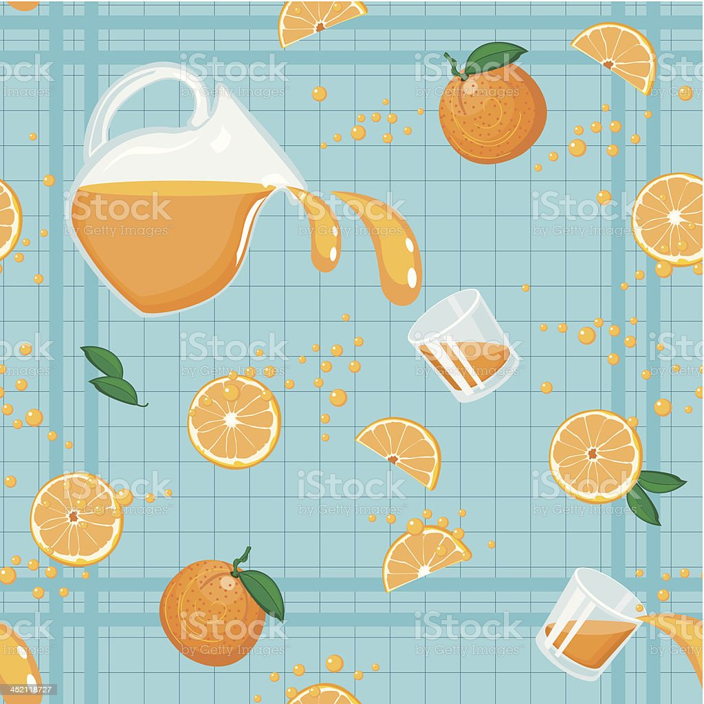 Seamless pattern with whole and segmented oranges, juice in pitcher...
