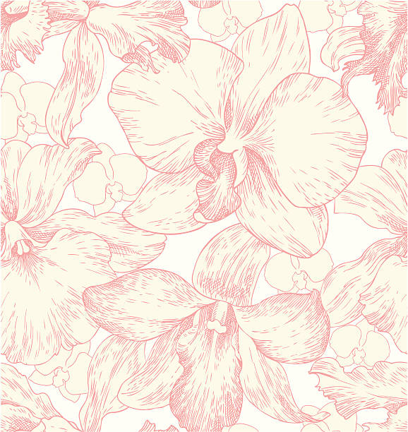 seamless pattern with orchids Wallpaper with orchids orchid stock illustrations