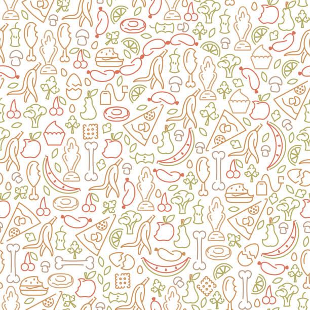 ilustraciones, imágenes clip art, dibujos animados e iconos de stock de patrón sin fisuras con los elementos orgánicos de la basura - leftovers