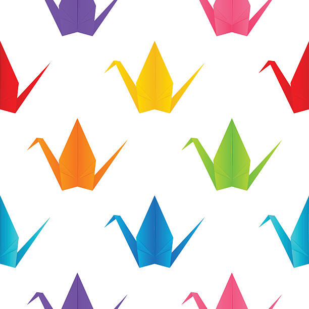 Seamless Pattern With Origami Cranes Vector Art Illustration