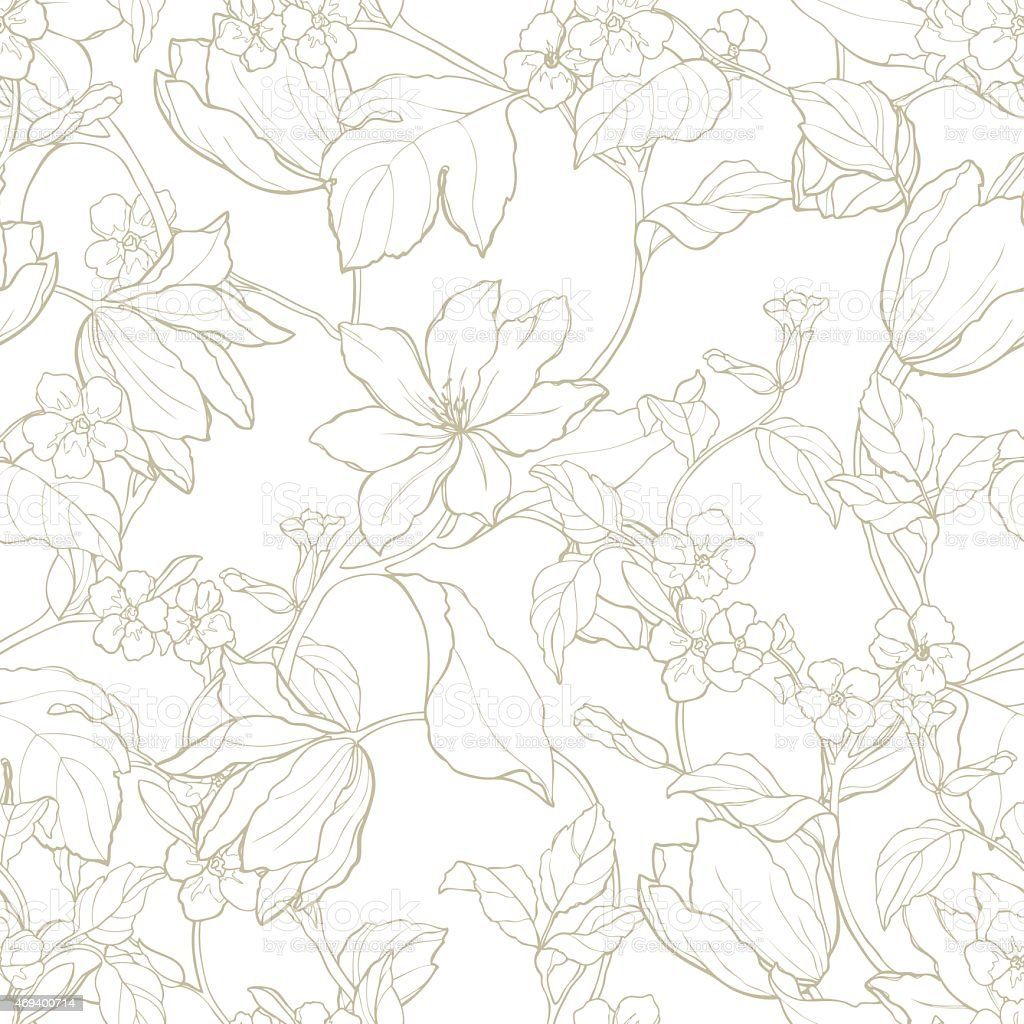 Seamless pattern with ornament  flowers tulips and magnolia vector art illustration