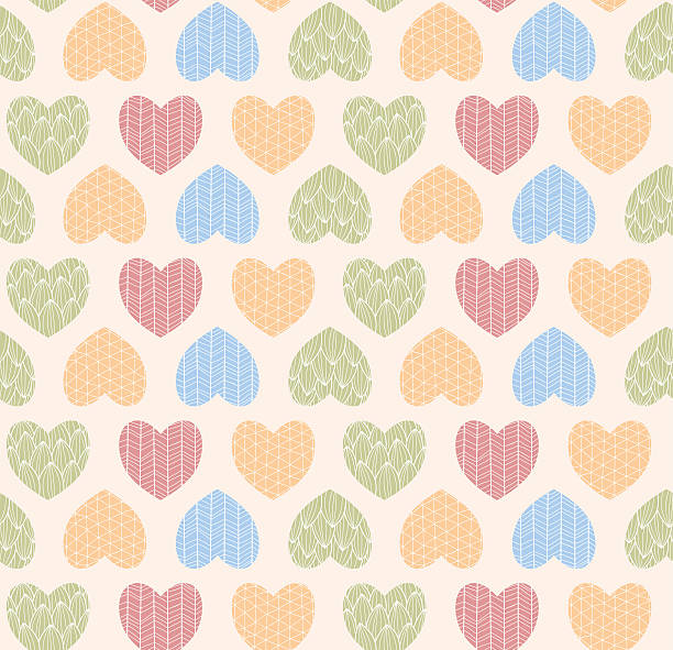 Seamless Pattern With Ornamental Heart Shaped Symbols Line Drawings