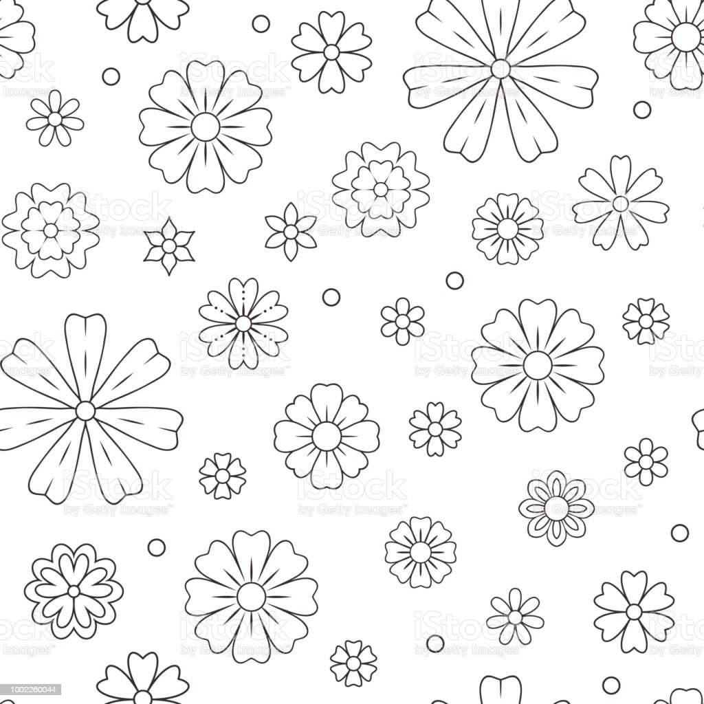 Seamless Pattern With Outline Flowers For Coloring Book Beautiful Floral  Background For Color Artwork Monochrome Backdrop Summer Flower Drawing ...