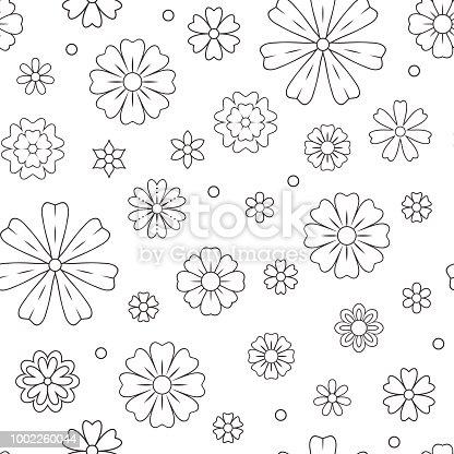 Ilustración de Patrón Transparente Con Flores De Contorno Para ...