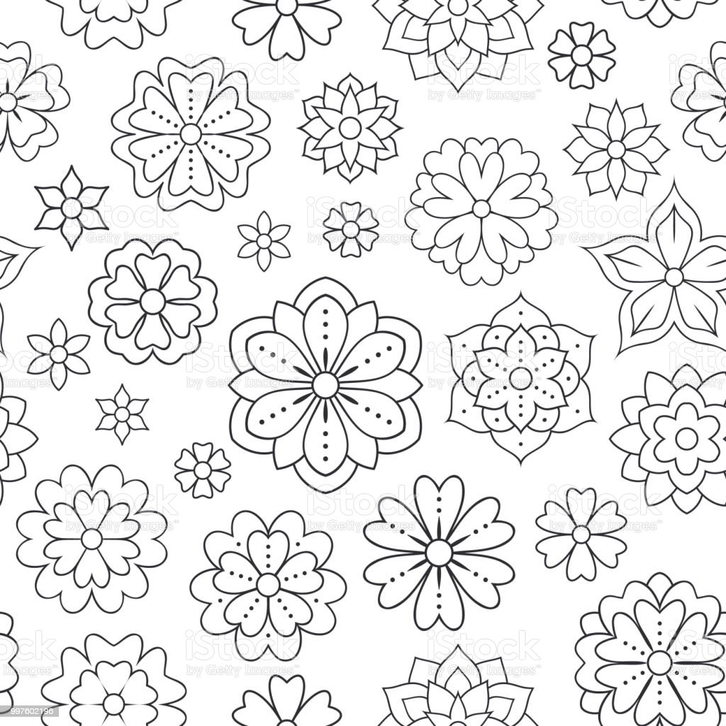 Seamless Pattern With Outline Flowers For Coloring Book Beautiful ...
