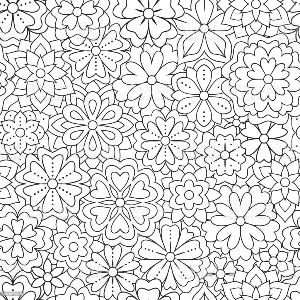 Seamless pattern with outline flowers for coloring book beautiful seamless pattern with outline flowers for coloring book beautiful floral background for color artwork mightylinksfo