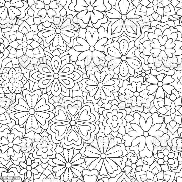 Seamless pattern with outline flowers for coloring book beautiful vector id997602214?b=1&k=6&m=997602214&s=612x612&h=hwex2yezak1cec9rbxd 9vcqubkvtmisyqvrhbaexuy=