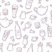 Seamless pattern with outline style drinks in vector. Background with beverages for design. Vector illustration