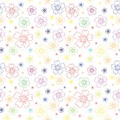 Illustration of seamless pattern with outlines of flowers