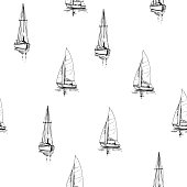 Seamless pattern with outlines of yachts. Hand drawn illustration converted to vector