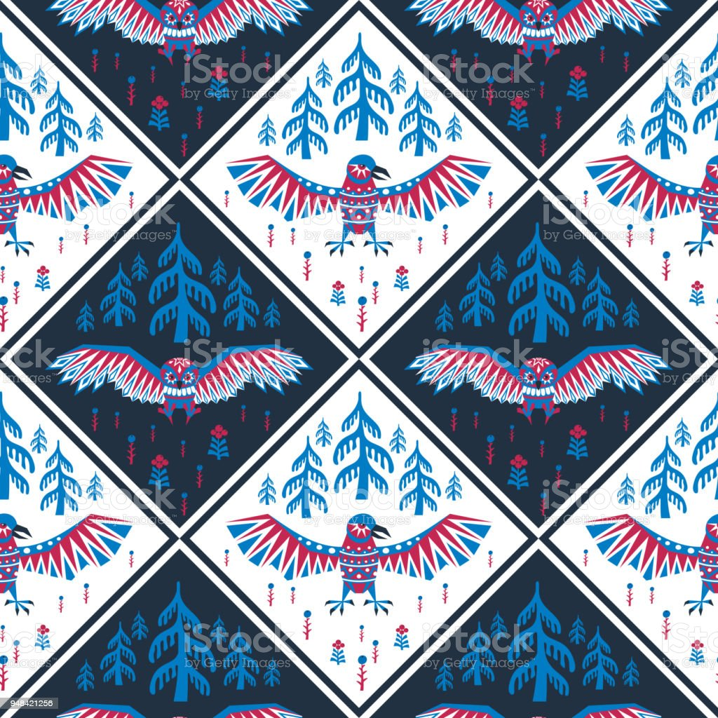 seamless pattern with owl and raven vector art illustration