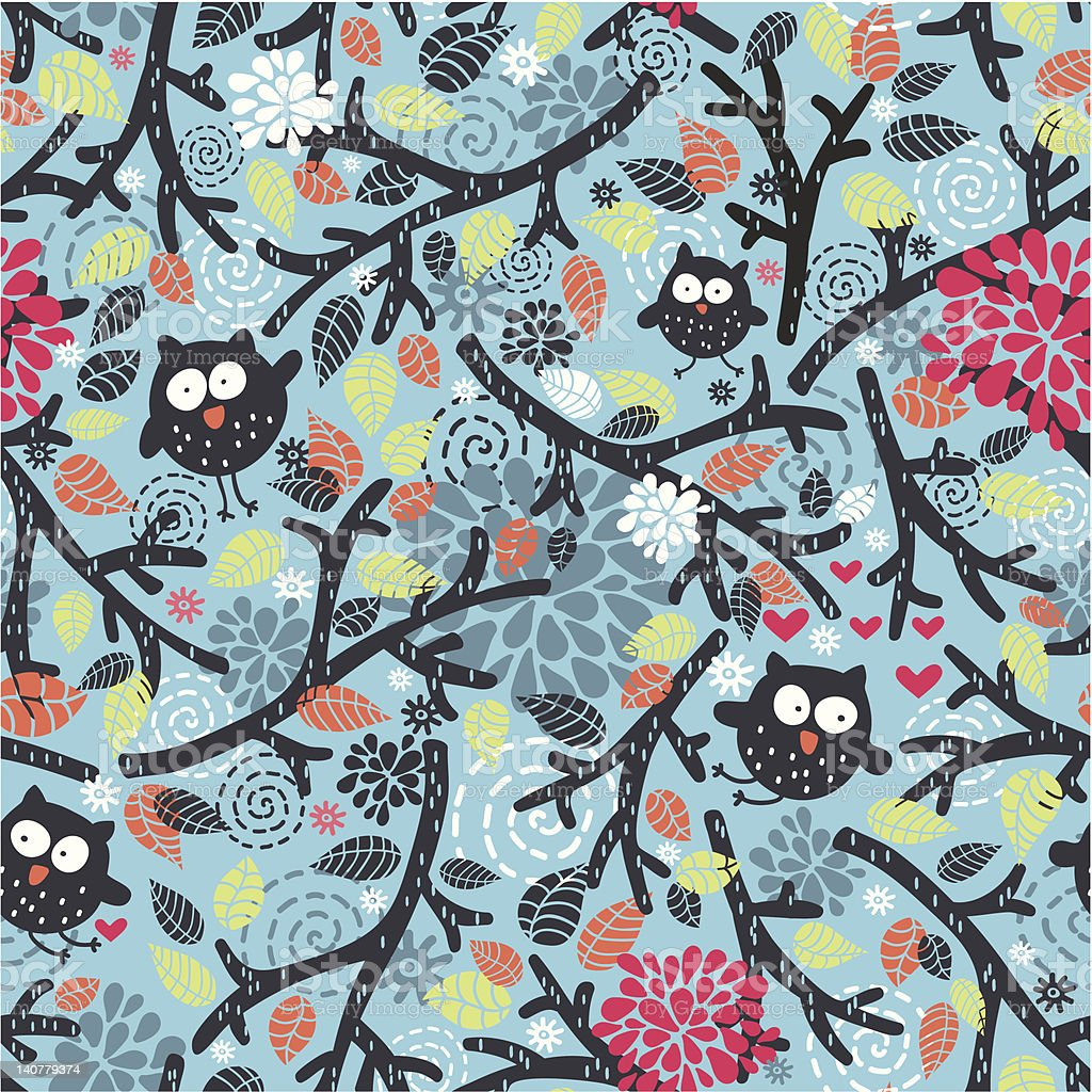 Seamless pattern with owls and floral elements on blue. royalty-free stock vector art