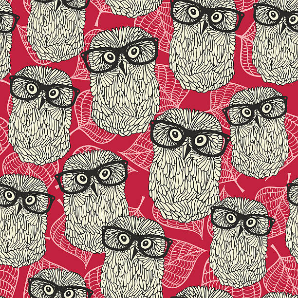 seamless pattern with owls on the leaves background. - black and white owl stock illustrations, clip art, cartoons, & icons