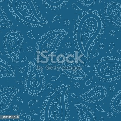 istock Seamless pattern with paisley design 492956714