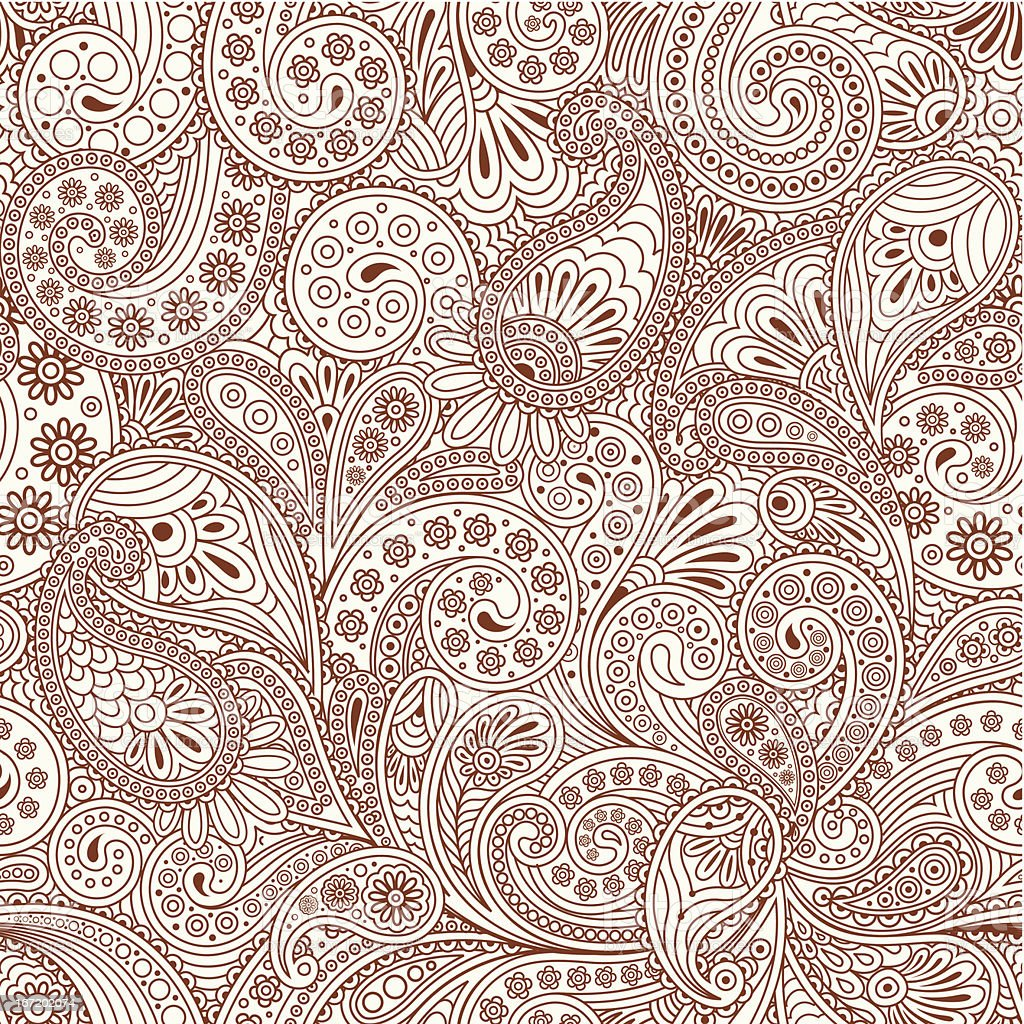 seamless pattern with paisley vector art illustration