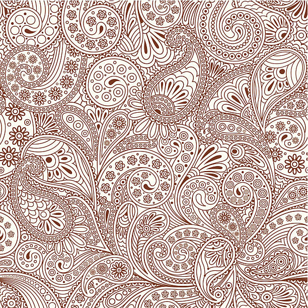 seamless pattern with paisley - indian stock illustrations, clip art, cartoons, & icons