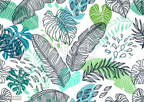 istock Seamless pattern with palm leaves. 1194028059