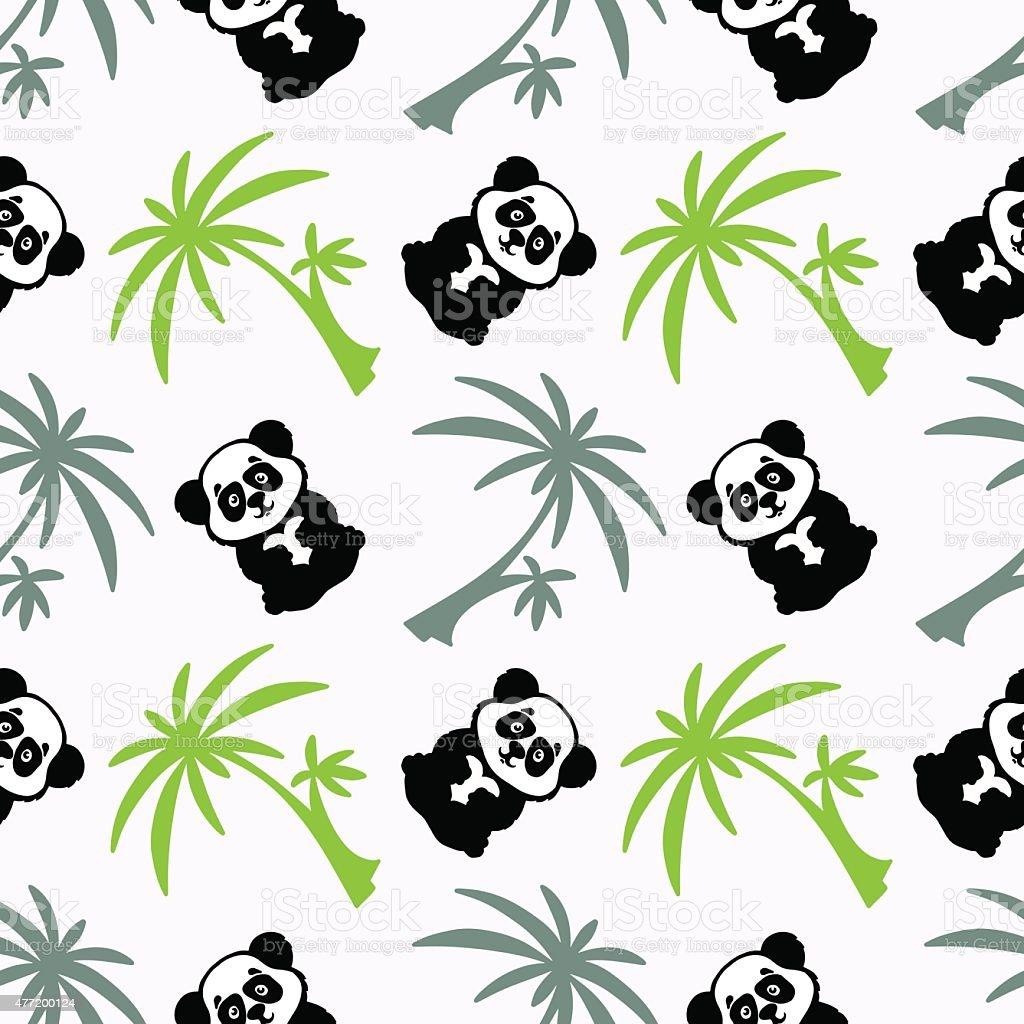 Ilustración de Patrón Sin Costuras Con Palmeras Oso Panda y más ...
