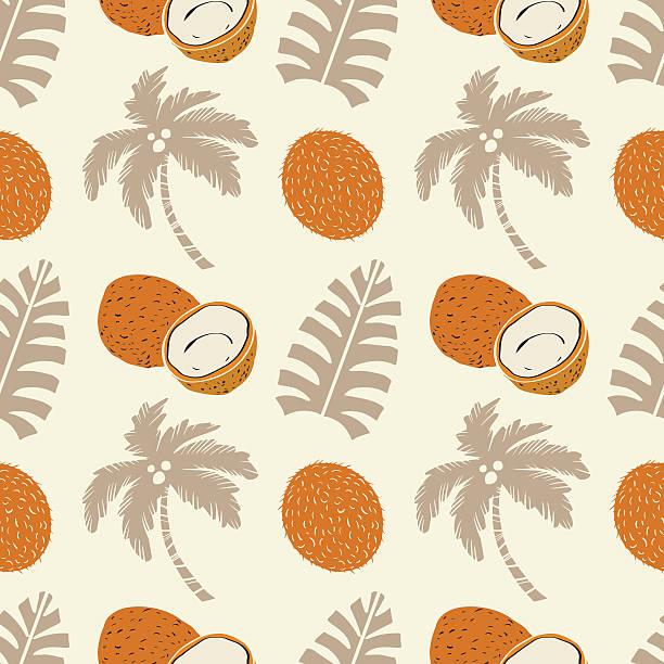 Patrón sin costuras con palmeras, leafs, coconuts - ilustración de arte vectorial